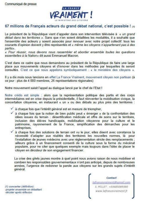 Communiqué de presse 67 millions de Français acteurs du grand débat national - Décembre 2018