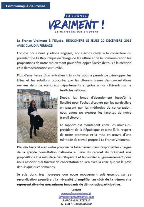Communiqué de presse RENCONTRE LE JEUDI 20 DECEMBRE 2018 AVEC CLAUDIA FERRAZZI